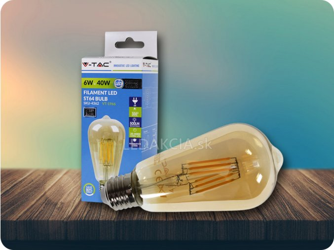 E27 LED Retro filament žiarovka 6W, ST64, Warmweiß 2200K