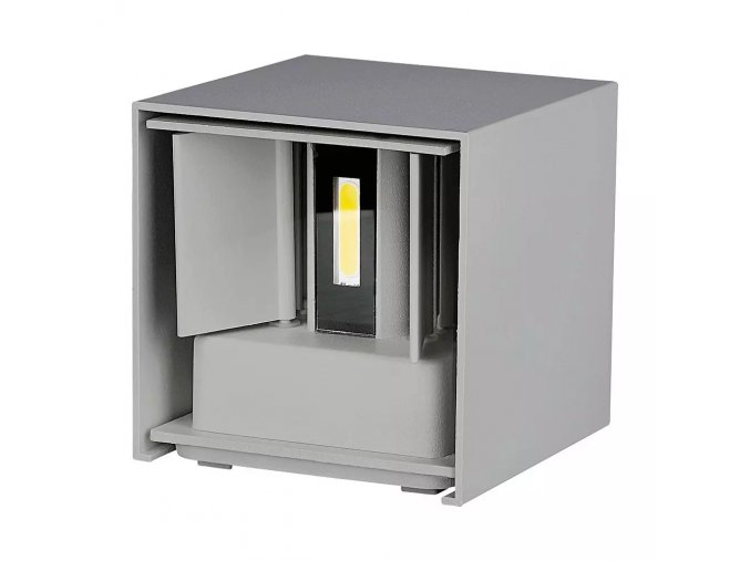 Nástenné svietidlo 6W, šedá, štvorec, IP65