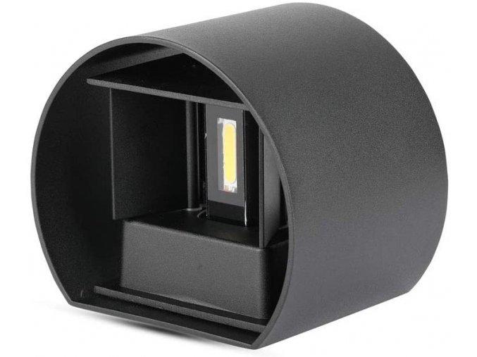 Nástenné svietidlo 6W, čierne, kruh, IP65