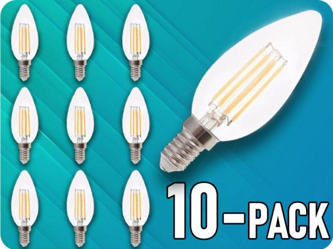 E14 LED RETRO FILAMENT žiarovka 4W, sviečka, balenie 10 kusov!