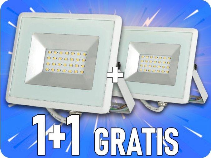 VONKAJŠÍ LED REFLEKTOR 20W, E-SERIES, 1700LM, BIELY, 1+1 zadarmo!