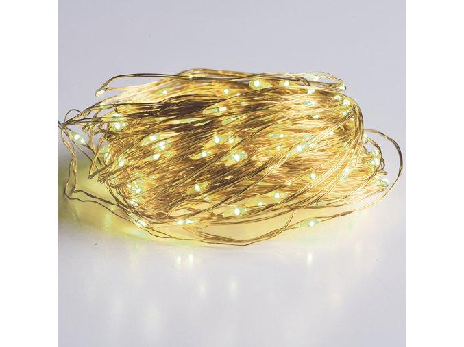 LED dekoračná reťaz 30m, 300LED, WW, 8 funkcií, s adaptérom,  zlatá meď