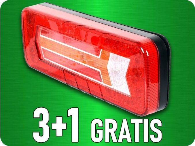 LED Zadné svetlo, dynamická smerovka, 12/24V, 6 funkcií, 3+1 zadarmo!