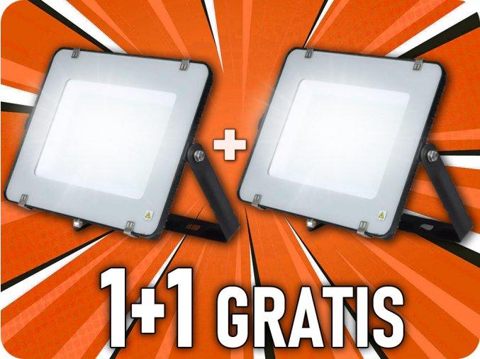 LED REFLEKTOR 200W, SAMSUNG CHIP, 16000LM, ČIERNY, 1+1 zadarmo!