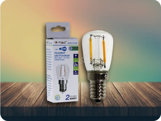E14 LED RETRO FILAMENT žiarovka 2W, ST26