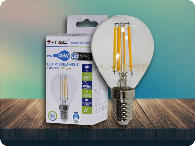 E14 LED RETRO FILAMENT žiarovka 4W, p45