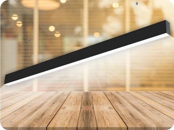 LED lineárne závesné svietidlo 40W, čierne, SAMSUNG chip