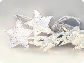 Solight LED reťaz vianočné hviezdy, kovové, biele, 10LED, 1m, 2xAA, IP20