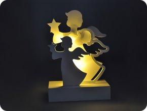 Solight LED anjeli, drevo, biela farba, 2xAA