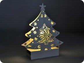 Solight LED kovový vianočný stromček, 2xAA