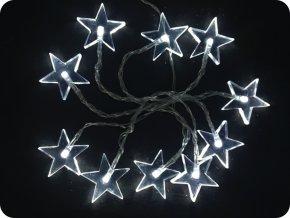 Solight LED vianočná reťaz, hviezdy, 1,5m, 10xLED, 2xAA, biele svetlo