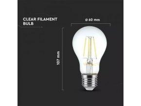 E27 LED Filament žiarovka, 4W (350Lm), A60, Premium SERIES, 2700K, Stmievateľná