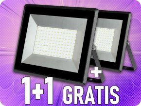 100W LED reflektor (8500lm), čierny, 1+1 zadarmo!