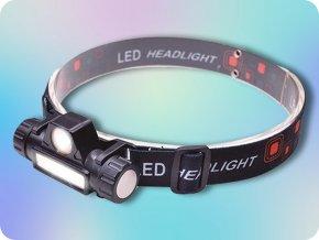 Solight LED čelové nabíjacie svietidlo, 3W+3W COB, 150lm+120lm, Li-ion, USB