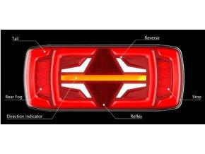 Zadné svetlo LED NeoN 12/24V dynamická smerovka,  5 funkcií