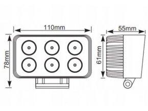 LED pracovné svetlo obdĺžnikové 18W, 1100LM, 12/24V