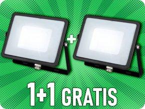 LED REFLEKTOR 30W, SAMSUNG CHIP, 2400LM, ČIERNY, 1+1 zadarmo!