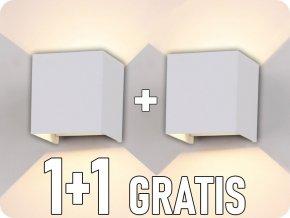 Nástenné svietidlo, biele, štvorec, IP65, 1+1 zadarmo!