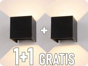 Nástenné svietidlo 6W, čierne, štvorec, IP65, 1+1 zadarmo!