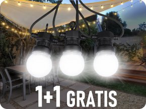 LED Reťazové svietidlo 20x0,5W  LED žiarovky, 10m, 24V, IP44, 1+1 zadarmo!