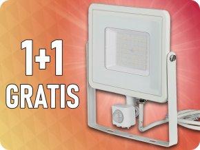 50W LED reflektor so senzorom SMD, SAMSUNG chip, biely, 1+1 zadarmo!