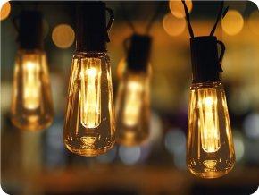 LED solárna reťaz 3,8m, 10x žiarovka, IP44, 2módy, 2700K-3000K