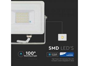 LED REFLEKTOR 20W, SAMSUNG CHIP, 1600LM, BIELY, ZÁRUKA - 5 ROKOV!
