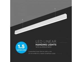 LED lineárne závesné svietidlo 40W, biele, SAMSUNG chip, 4000K