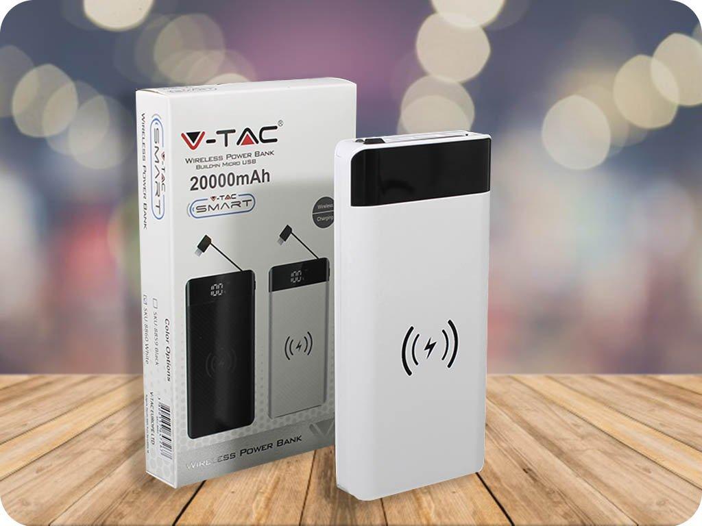 Powerbank z bezprzewodowym ładowaniem, wbudowanym kablem micro USB, 20 000 mAh, biały