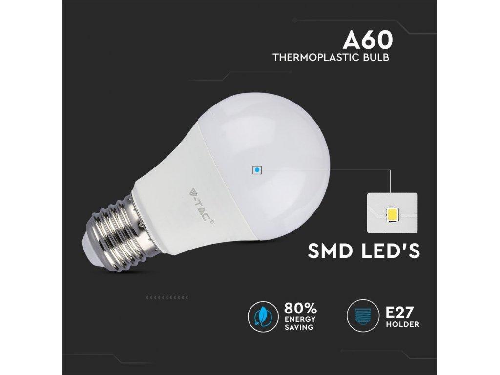 E27 LED Żarówka 9W (806 lm),  A60 (Barwa Swiatla Zimna biała     6400K)