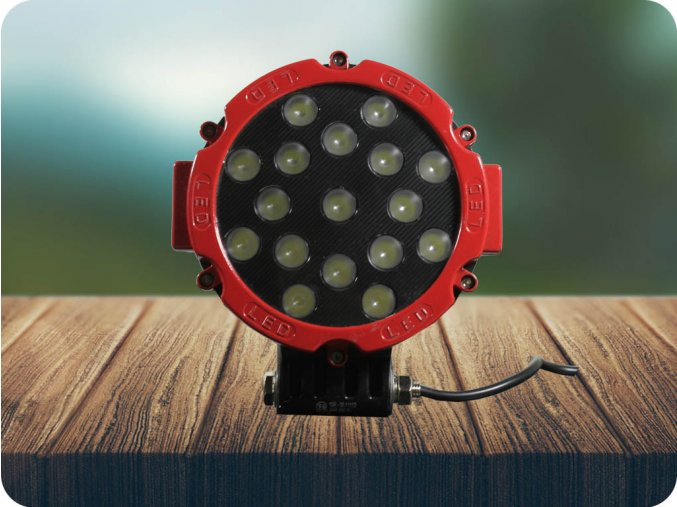 LED LAMPA ROBOCZA, OKRĄGŁA 51W (3825LM), 12-24V, 6500K, IP67, CZERWONA