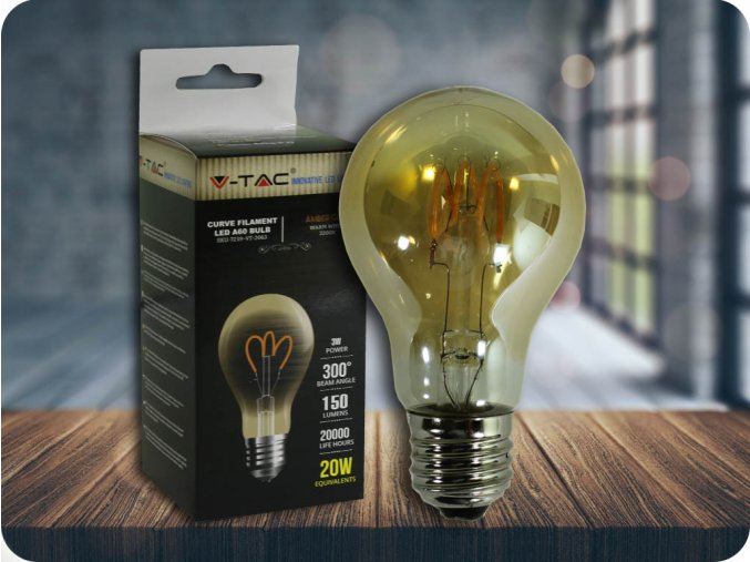 E27 LED FILAMENT RETRO ŻARÓWKA 3W (150 lm), 2200K, A60