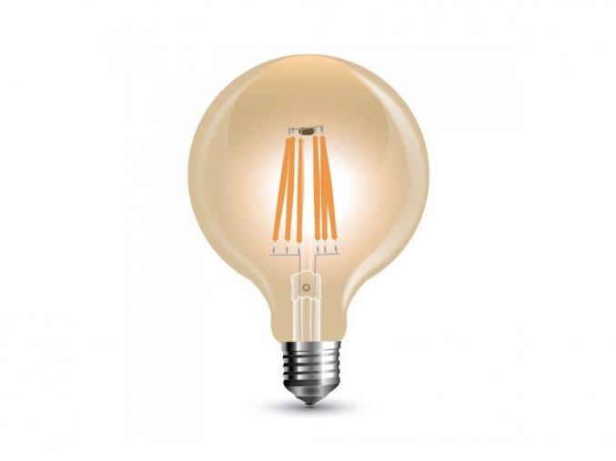 E27 LED FILAMENT ŻARÓWKA 8W, 2200K, G125, ŚCIEMNIALNA