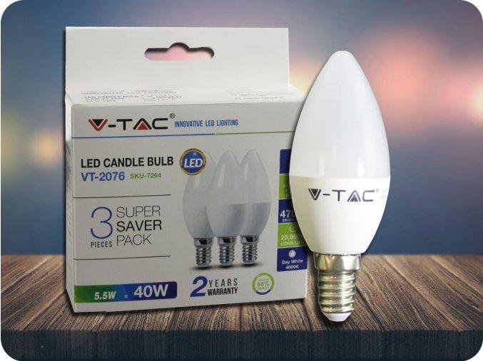 E14 LED ŻARÓWKA 5.5W (470Lm) - 3 PACK