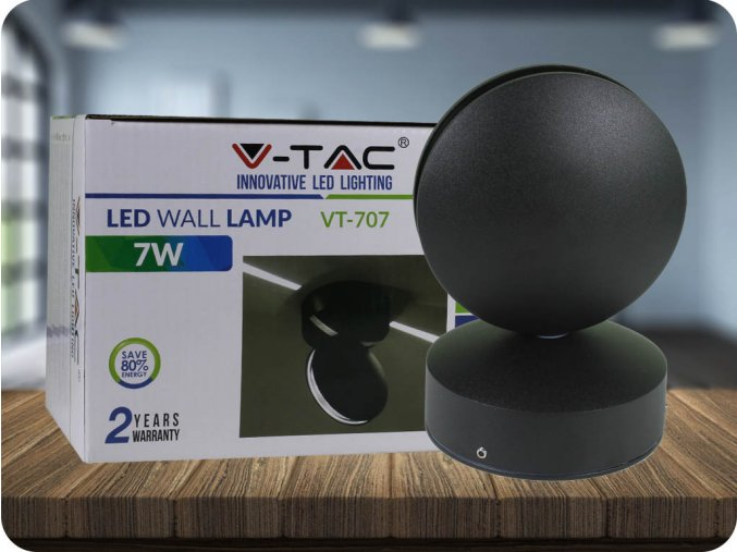 LED KINKIET 7W (770 LM), IP65, CZARNY