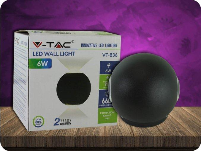 LED KINKIET 6W (660 LM), IP65, CZARNY
