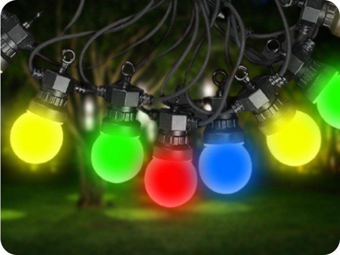 Łańcuch z LED żaròwkami 10x (0,5W), RGBY, 5m, 24V, IP44