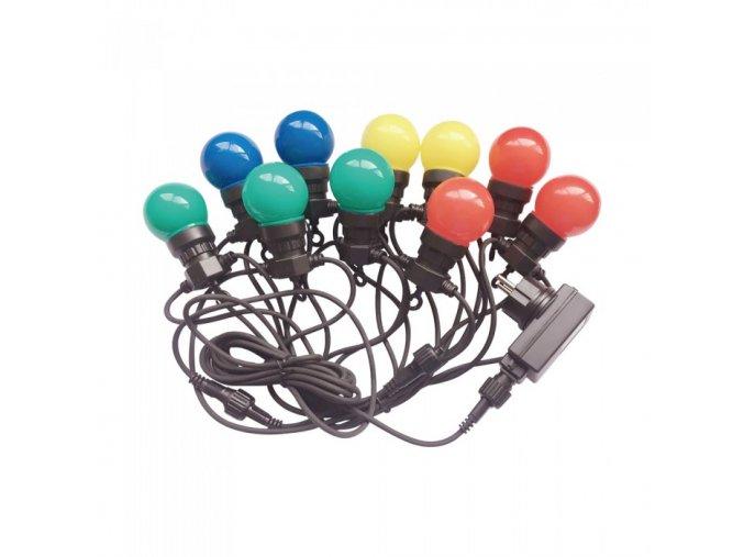 Latarka LED z łańcuchem 20 x 0,5W żarówek LED RGB, 10m, 24V, IP44