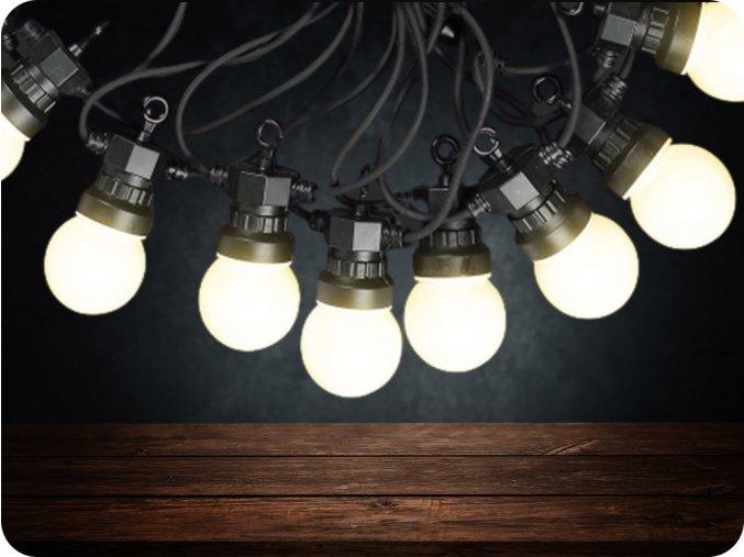 Łańcuch świetlny LED 20 x 0,5W żarówek, 10m, 24V, IP44