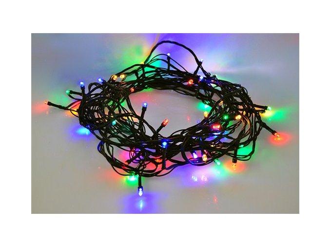 Zewnętrzny łańcuszek świąteczny LED firmy Solight, 100 diod LED, 10m, przewód 3m, 8 funkcji, timer, IP44, wielokolorowy