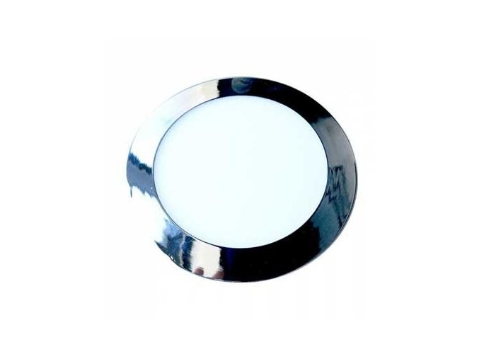 Wbudowany panel LED z zasilaczem, 18 W (1500 Lm), chromowany, okrągły