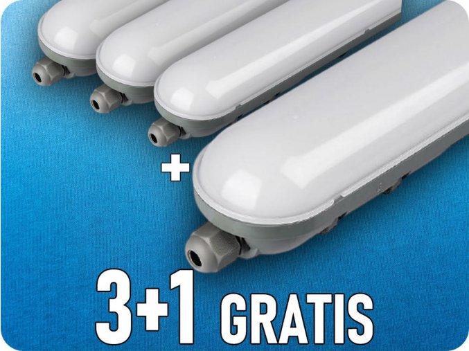 LED Lampa PC/PC  36W (2800 lm), 120cm, IP65, 3+1 gratis!