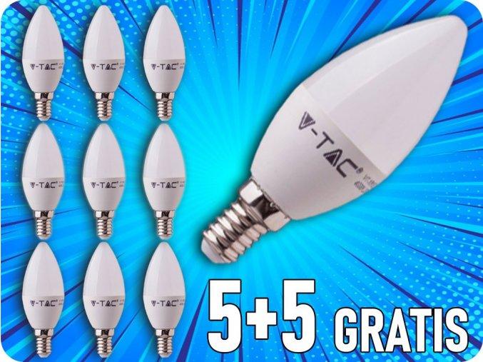 Żarówka LED E14 5.5W, 470lm, chip SAMSUNG, C37, 5+5 gratis!