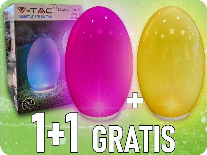 Jajko solarne LED RGB + WW, IP44, akumulator, żywotność 6-8h, 1+1 gratis!