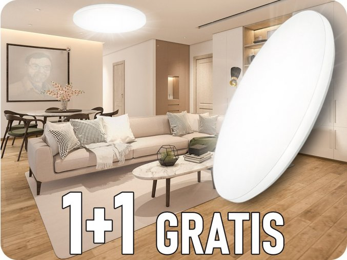 Lampa sufitowa LED 36W (2160lm), zmiana koloru 3000K-6000, 1+1 gratis!