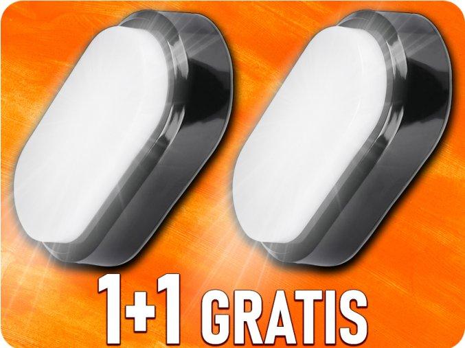 LED Plafon / Lampa ścienna 8W, 560lm, czarna, 1+1 gratis!