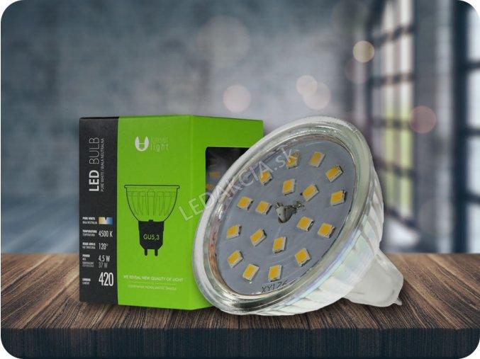 GU5.3 Żarówka LED 4,5W, 12V, ciepła biała 3000K