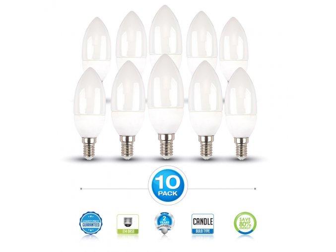 E14 Żarówka LED 6W, świeca - opakowanie 10 sztuk