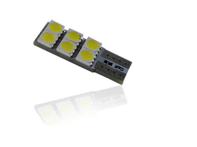 Żarówka samochodowa LED T10, 6 x led, CANBUS