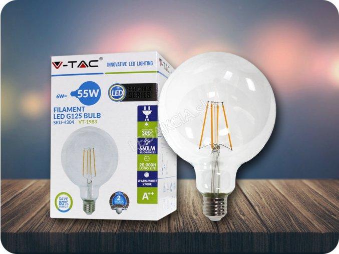 E27 LED Retro Filament Żarówka 6W, G125, biała ciepła 2700K